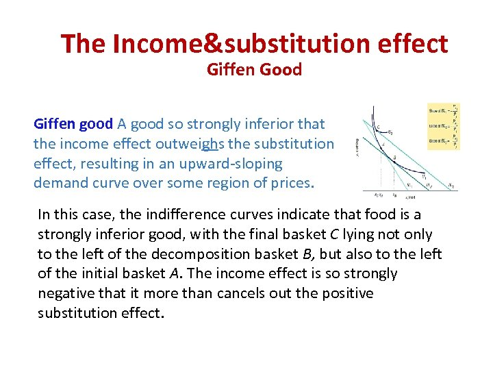 The Income&substitution effect Giffen Good Giffen good A good so strongly inferior that the