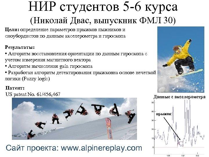 НИР студентов 5 -6 курса (Николай Двас, выпускник ФМЛ 30) Цели: определение параметров прыжков