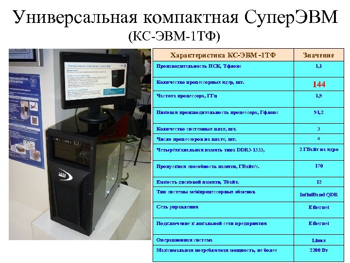 Универсальная компактная Супер. ЭВМ (КС-ЭВМ-1 ТФ) Характеристика КС-ЭВМ -1 ТФ Значение Производительность ПСК, Тфлопс