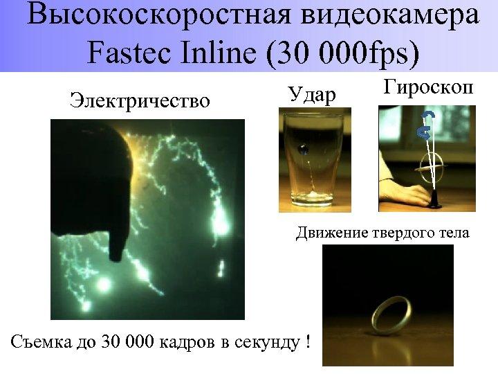 Высокоскоростная видеокамера Fastec Inline (30 000 fps) Электричество Удар Гироскоп Движение твердого тела Съемка