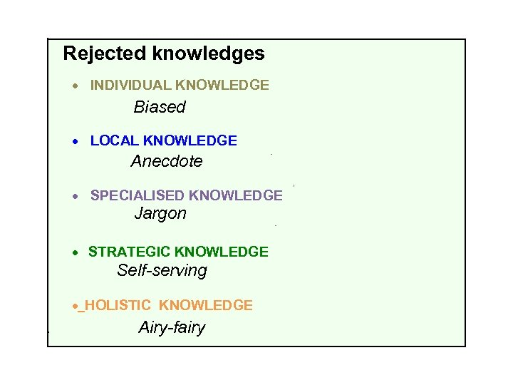 Rejected knowledges · INDIVIDUAL KNOWLEDGE Biased · LOCAL KNOWLEDGE Anecdote · SPECIALISED KNOWLEDGE Jargon