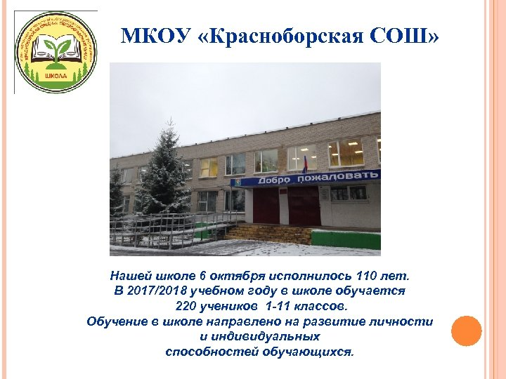 МКОУ «Красноборская СОШ» Нашей школе 6 октября исполнилось 110 лет. В 2017/2018 учебном году