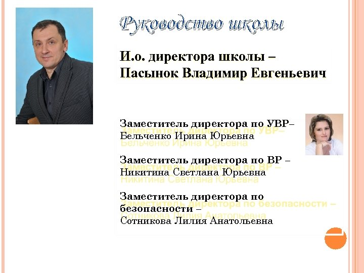 Руководство школы И. о. директора школы – Пасынок Владимир Евгеньевич Заместитель директора по УВР–