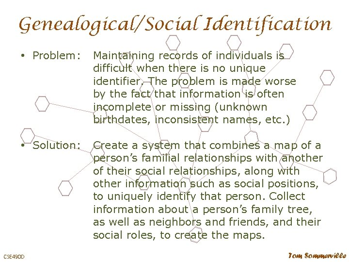 Genealogical/Social Identification • Problem: Maintaining records of individuals is difficult when there is no