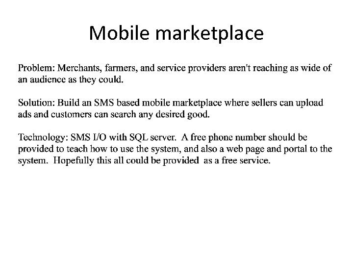 Mobile marketplace