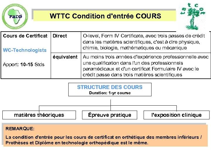 WTTC Condition d'entrée COURS Cours de Certificat Direct O-level, Form IV Certificate, avec trois