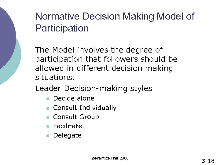 Normative Decision Making Model of Participation The Model involves the degree of participation that