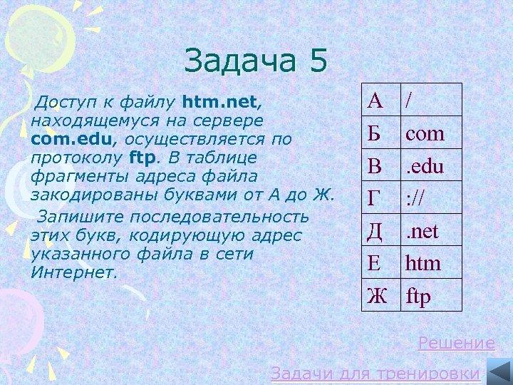 Задача 5 Доступ к файлу htm. net, находящемуся на сервере com. edu, осуществляется по