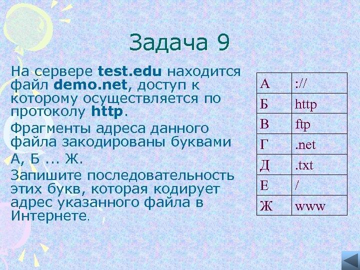 Задача 9 На сервере test. edu находится файл demo. net, доступ к которому осуществляется