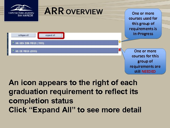 ARR OVERVIEW One or more courses used for this group of requirements is In-Progress