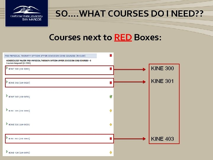 SO…. WHAT COURSES DO I NEED? ? Courses next to RED Boxes: KINE 300