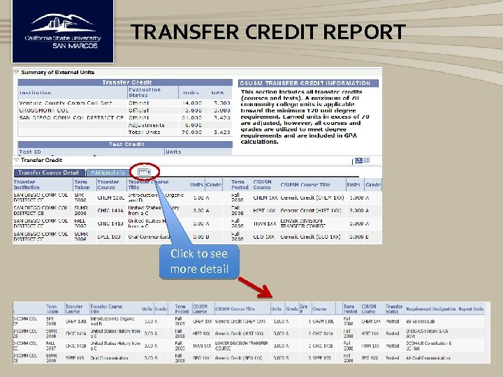 TRANSFER CREDIT REPORT Click to see more detail