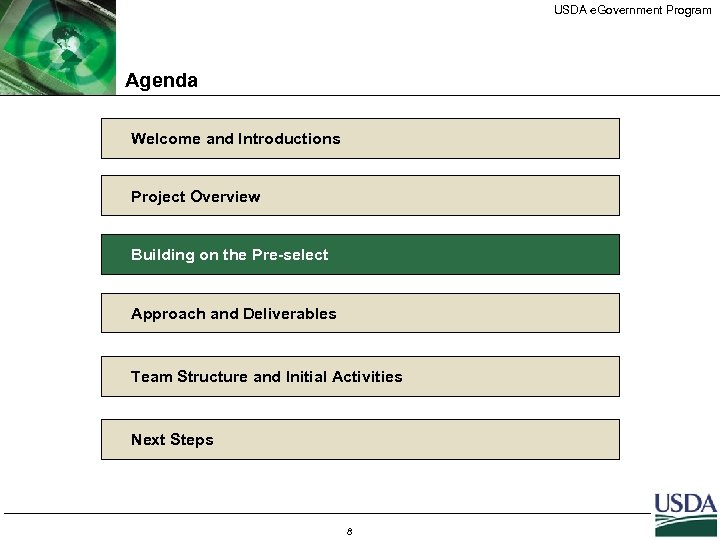 USDA e. Government Program Agenda Welcome and Introductions Project Overview Building on the Pre-select