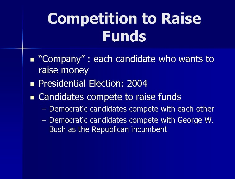 """Competition to Raise Funds n n n """"Company"""" : each candidate who wants to"""