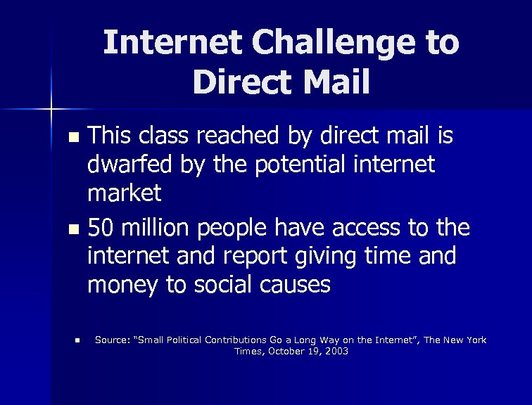 Internet Challenge to Direct Mail This class reached by direct mail is dwarfed by