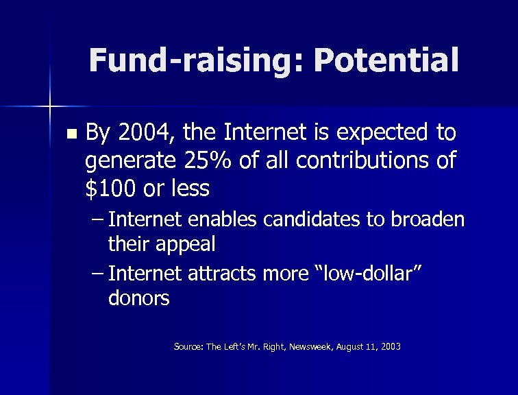 Fund-raising: Potential n By 2004, the Internet is expected to generate 25% of all