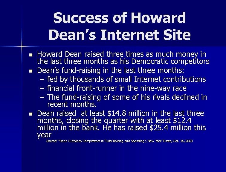 Success of Howard Dean's Internet Site n n n Howard Dean raised three times