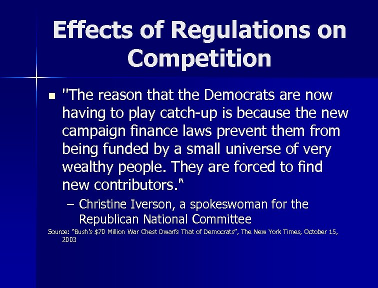 Effects of Regulations on Competition n ''The reason that the Democrats are now having