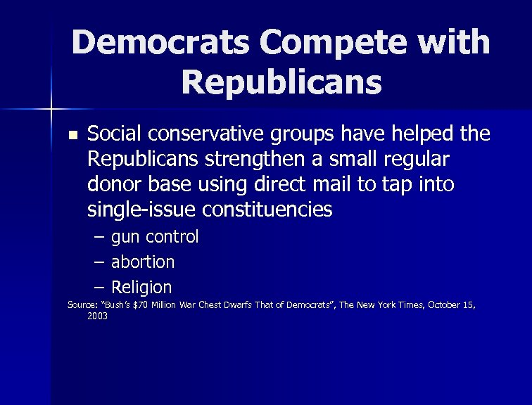 Democrats Compete with Republicans n Social conservative groups have helped the Republicans strengthen a