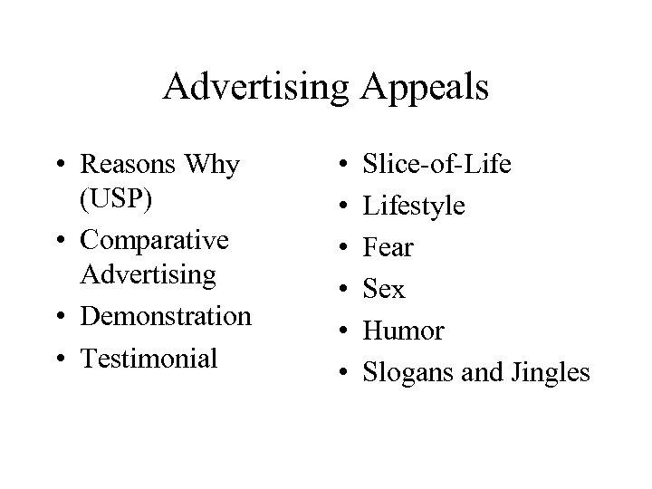 Advertising Appeals • Reasons Why (USP) • Comparative Advertising • Demonstration • Testimonial •