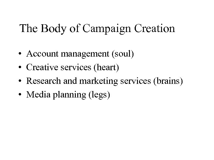 The Body of Campaign Creation • • Account management (soul) Creative services (heart) Research