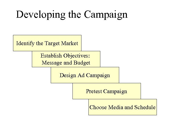 Developing the Campaign Identify the Target Market Establish Objectives: Message and Budget Design Ad