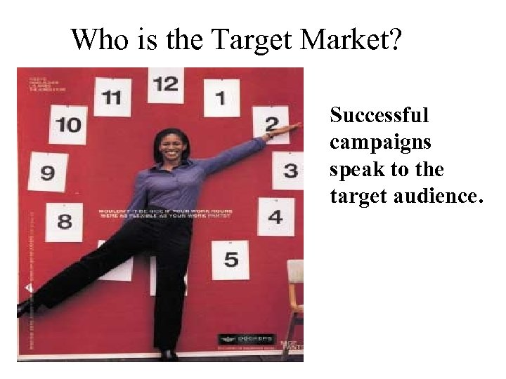 Who is the Target Market? Successful campaigns speak to the target audience.