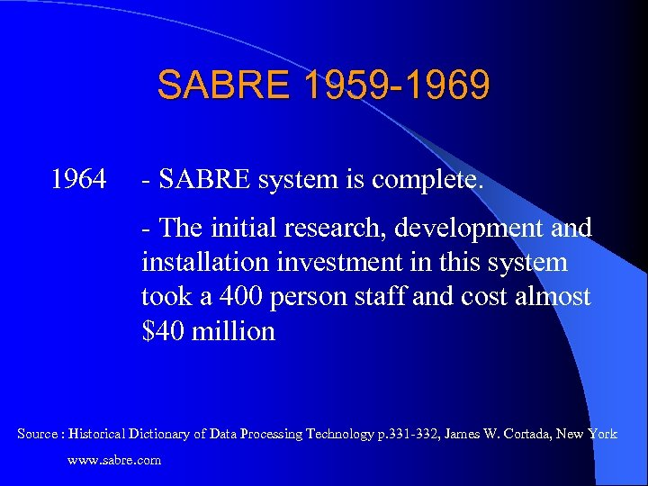 SABRE 1959 -1969 1964 - SABRE system is complete. - The initial research, development