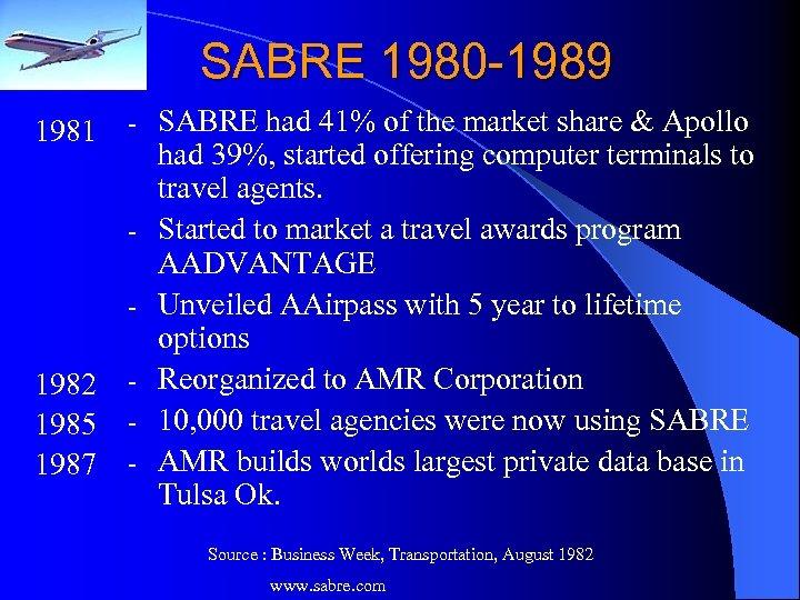 SABRE 1980 -1989 1981 - - 1982 1985 1987 - SABRE had 41% of
