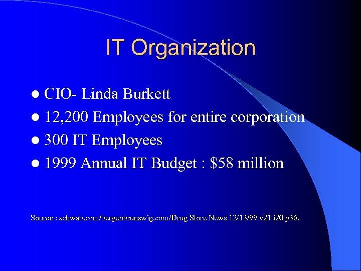 IT Organization l CIO- Linda Burkett l 12, 200 Employees for entire corporation l
