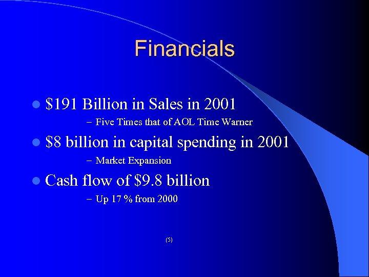 Financials l $191 Billion in Sales in 2001 – Five Times that of AOL