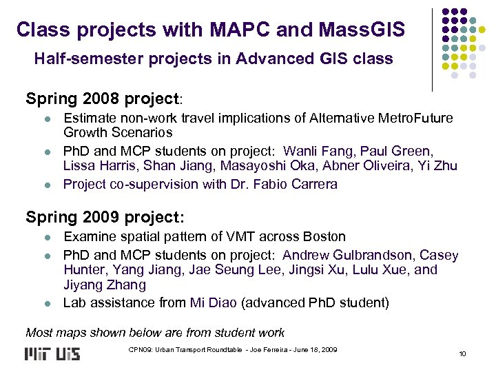 Class projects with MAPC and Mass. GIS Half-semester projects in Advanced GIS class Spring