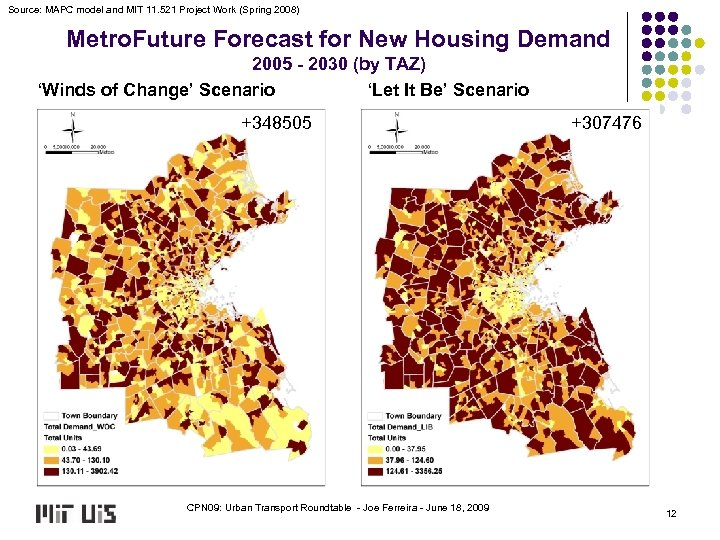 Source: MAPC model and MIT 11. 521 Project Work (Spring 2008) Metro. Future Forecast
