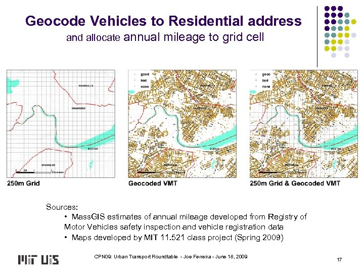 Geocode Vehicles to Residential address and allocate annual mileage to grid cell Sources: •