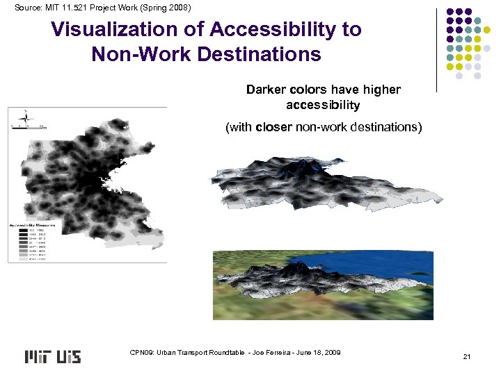 Source: MIT 11. 521 Project Work (Spring 2008) Visualization of Accessibility to Non-Work Destinations
