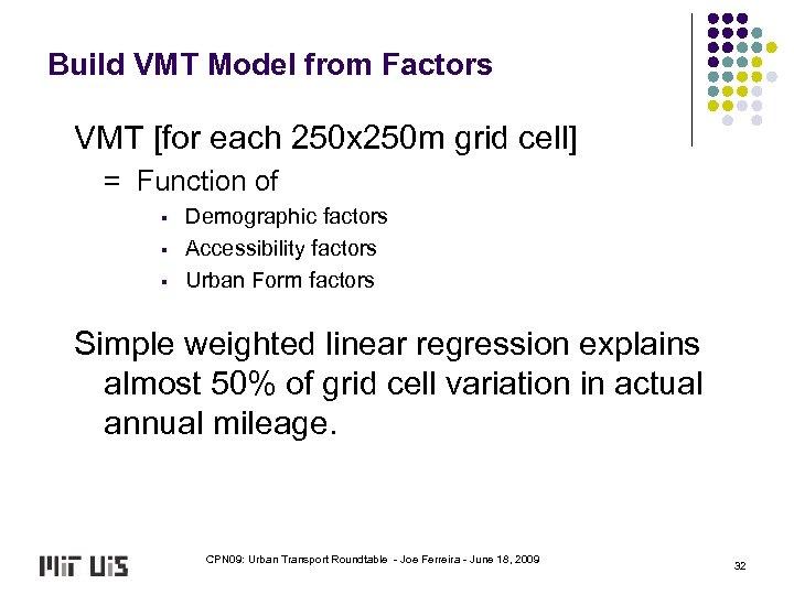 Build VMT Model from Factors VMT [for each 250 x 250 m grid cell]