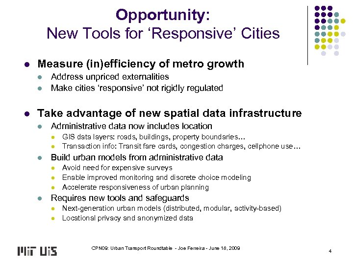 Opportunity: New Tools for 'Responsive' Cities l Measure (in)efficiency of metro growth l l