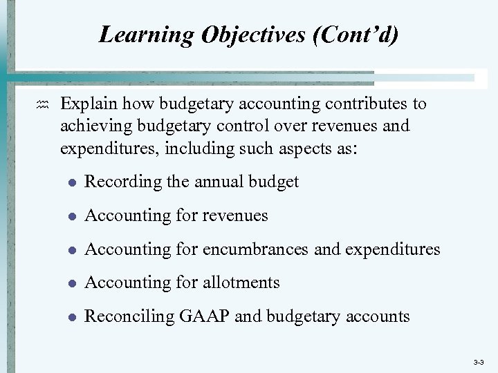 Chapter 3 Governmental Operating Statement Accounts Budgetary Accounting