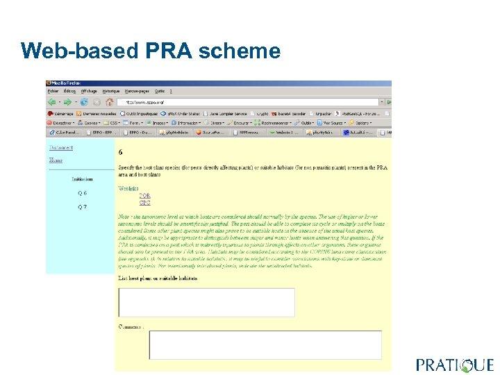 Web-based PRA scheme