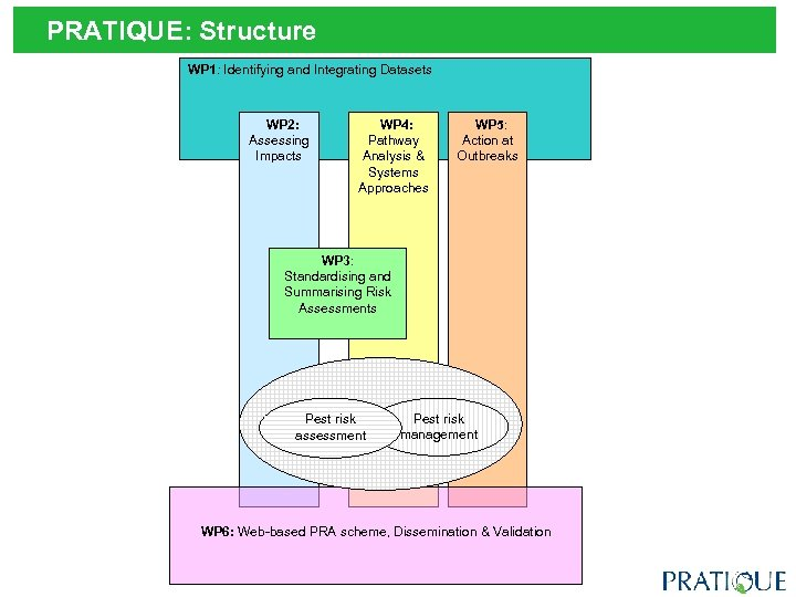 PRATIQUE: Structure WP 1: Identifying and Integrating Datasets WP 2: Assessing Impacts WP 4:
