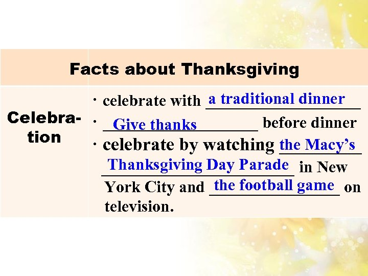 Facts about Thanksgiving a traditional dinner · celebrate with __________ Celebra- · __________ before