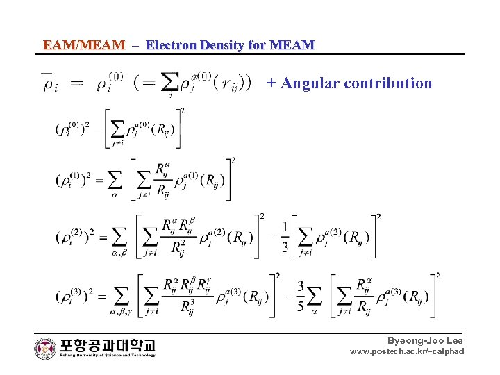 EAM/MEAM – Electron Density for MEAM + Angular contribution Byeong-Joo Lee www. postech. ac.