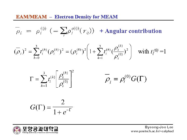 EAM/MEAM – Electron Density for MEAM + Angular contribution with ti(0) =1 Byeong-Joo Lee