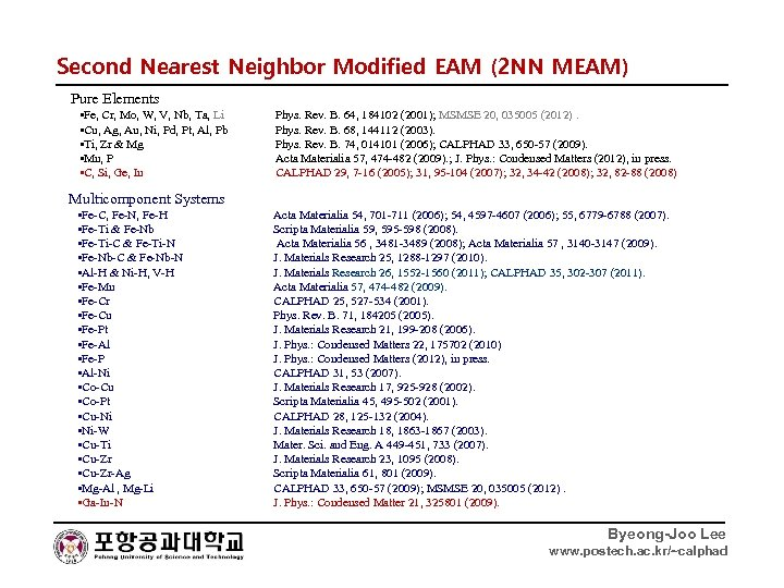 Second Nearest Neighbor Modified EAM (2 NN MEAM) Pure Elements • Fe, Cr, Mo,