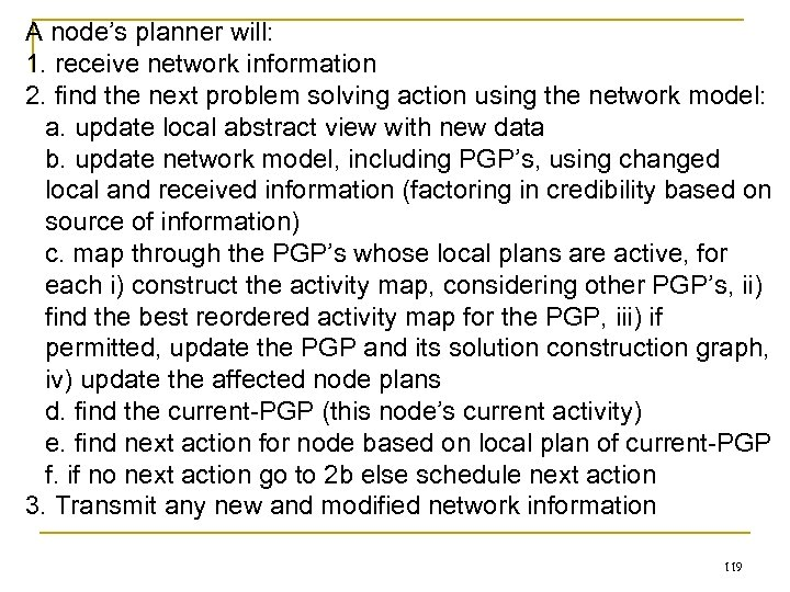 A node's planner will: 1. receive network information 2. find the next problem solving