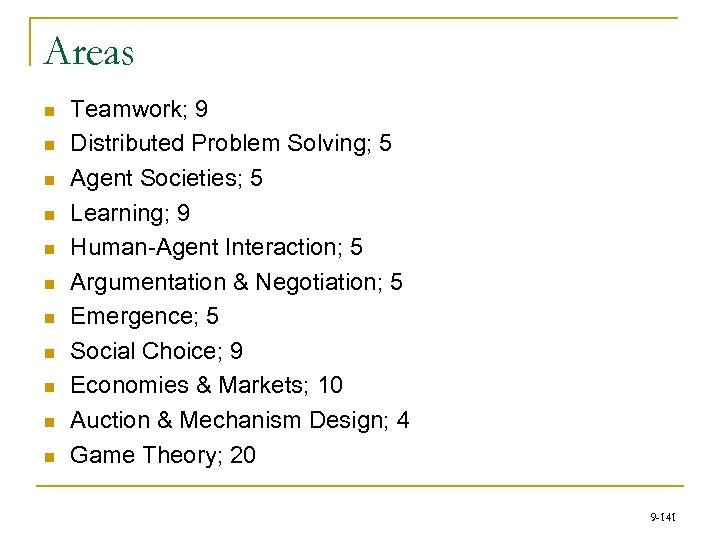 Areas n n n Teamwork; 9 Distributed Problem Solving; 5 Agent Societies; 5 Learning;