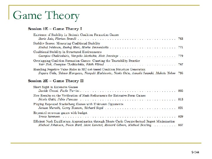 Game Theory 9 -144