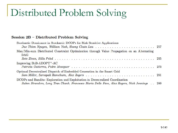Distributed Problem Solving 9 -147