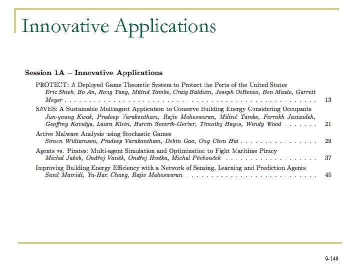 Innovative Applications 9 -148