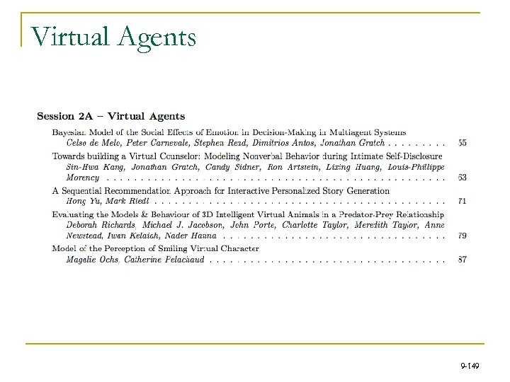 Virtual Agents 9 -149